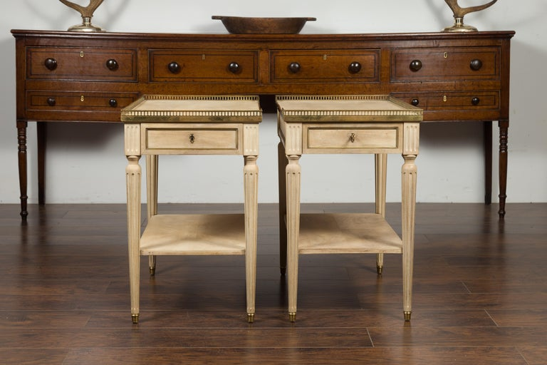 Brass Pair of Midcentury French Bleached Walnut End Tables with Drawers and Gallery For Sale