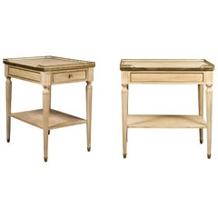 Pair of Midcentury French Bleached Walnut End Tables with Drawers and Gallery