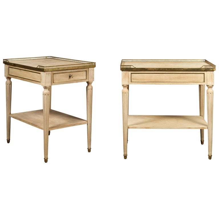 Pair of Midcentury French Bleached Walnut End Tables with Drawers and Gallery For Sale