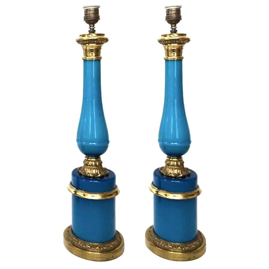 Pair of Midcentury French Blue Glass Table Lamps, 1960s