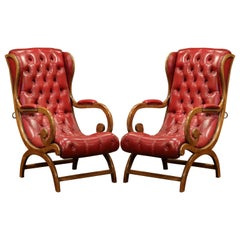 Pair of Midcentury French Carved Walnut Armchairs with Original Red Leather