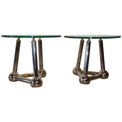 Pair of Midcentury French Chrome Atomic End Tables with Glass Tops
