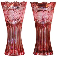 Pair of Midcentury French Cut Crystal Trumpet Vases with Frosted Floral Motifs