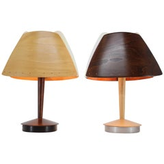 Pair of Midcentury French Design Wooden Table Lamp by Lucid / 1970s, Renovated
