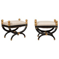 Pair of Midcentury French Empire Style Ebonized Curule Stools with Gilt Accents