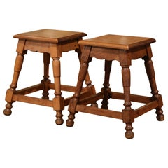 Pair of Midcentury French Louis XIII Carved Oak and Walnut Stools