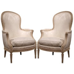 Pair of Midcentury French Louis XVI Carved Painted Bergères Armchairs