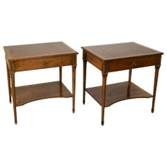 Pair of Midcentury French Louis XVI Style Fruitwood Writing Desk Side Tables