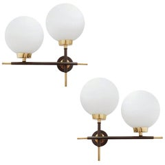 Pair of Midcentury French Lunel Sconces, Glass and Brass, 1960s
