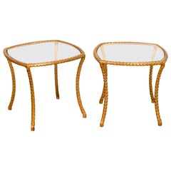 Pair of Midcentury French Maison Baguès Style Gilt Bronze Tables with Glass Tops