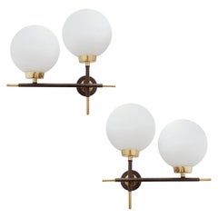 Pair of Midcentury French Maison Lunel Sconces, Glass and Brass, 1960s