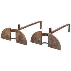 Pair of Midcentury French Metal Andirons