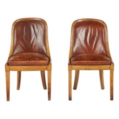 Pair of Midcentury French Oak and Leather Side Chairs