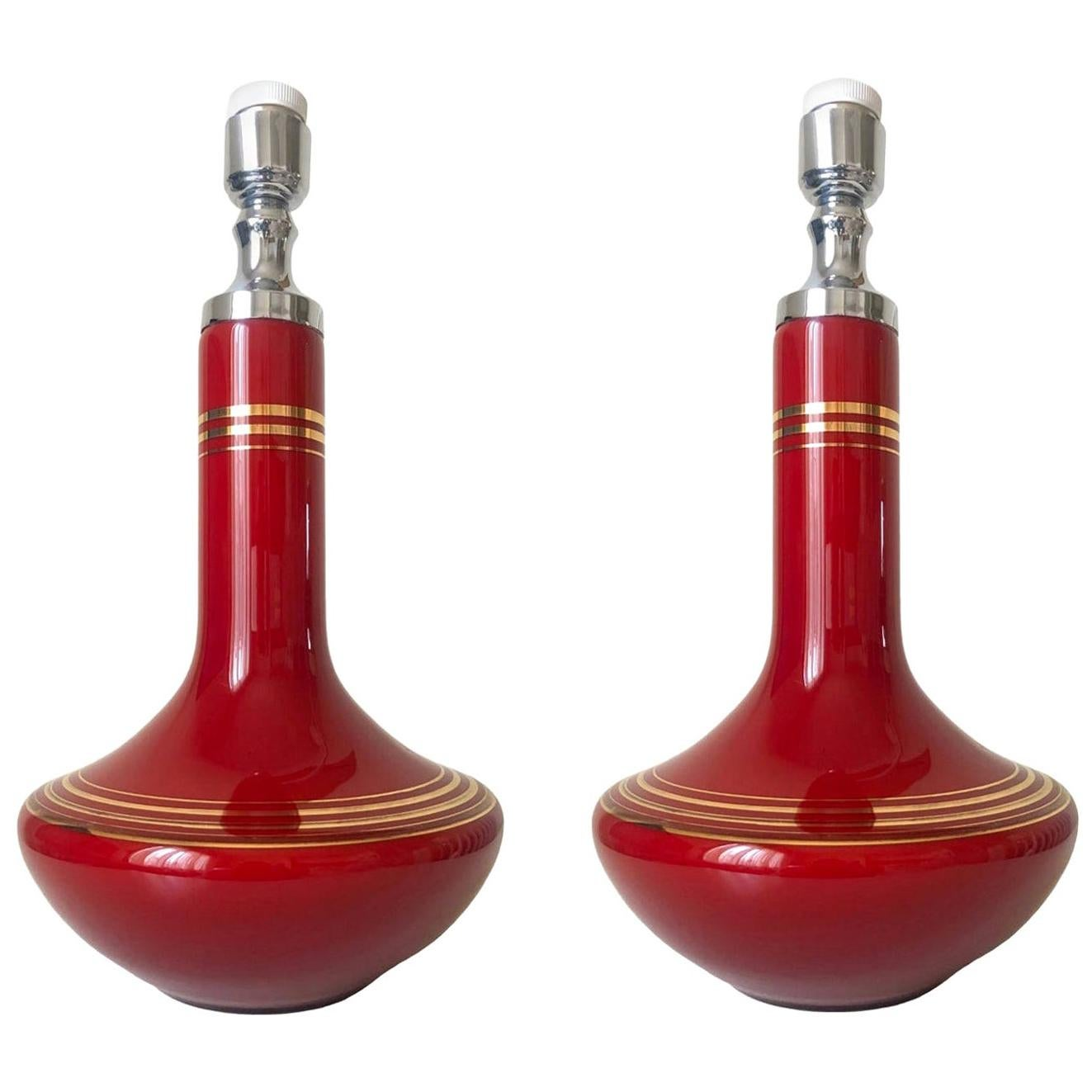 Pair of Midcentury French Opaline Glass Table Lamps, 1970s
