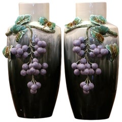 Pair of Midcentury French Painted Barbotine Porcelain Vases with Grape Decor