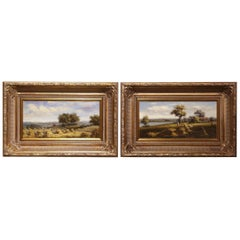 Pair of Midcentury French Pastoral Oil on Canvas Paintings in Gilt Frames