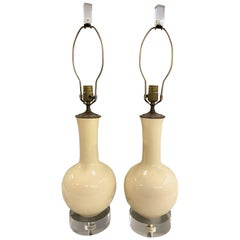 Pair of Midcentury French Porcelain Lamps with Modern Lucite Bases and Finials
