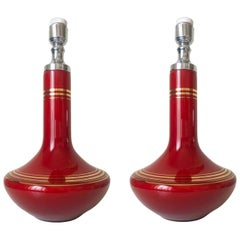 Pair of Midcentury French Red Glass Table Lamps, 1970s