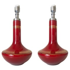 Pair of Midcentury French Red Opaline Glass Table Lamps, 1970s