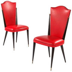 Pair of Midcentury French Red Vinyl and Black Lacquered Wood Side Chairs, 1960s