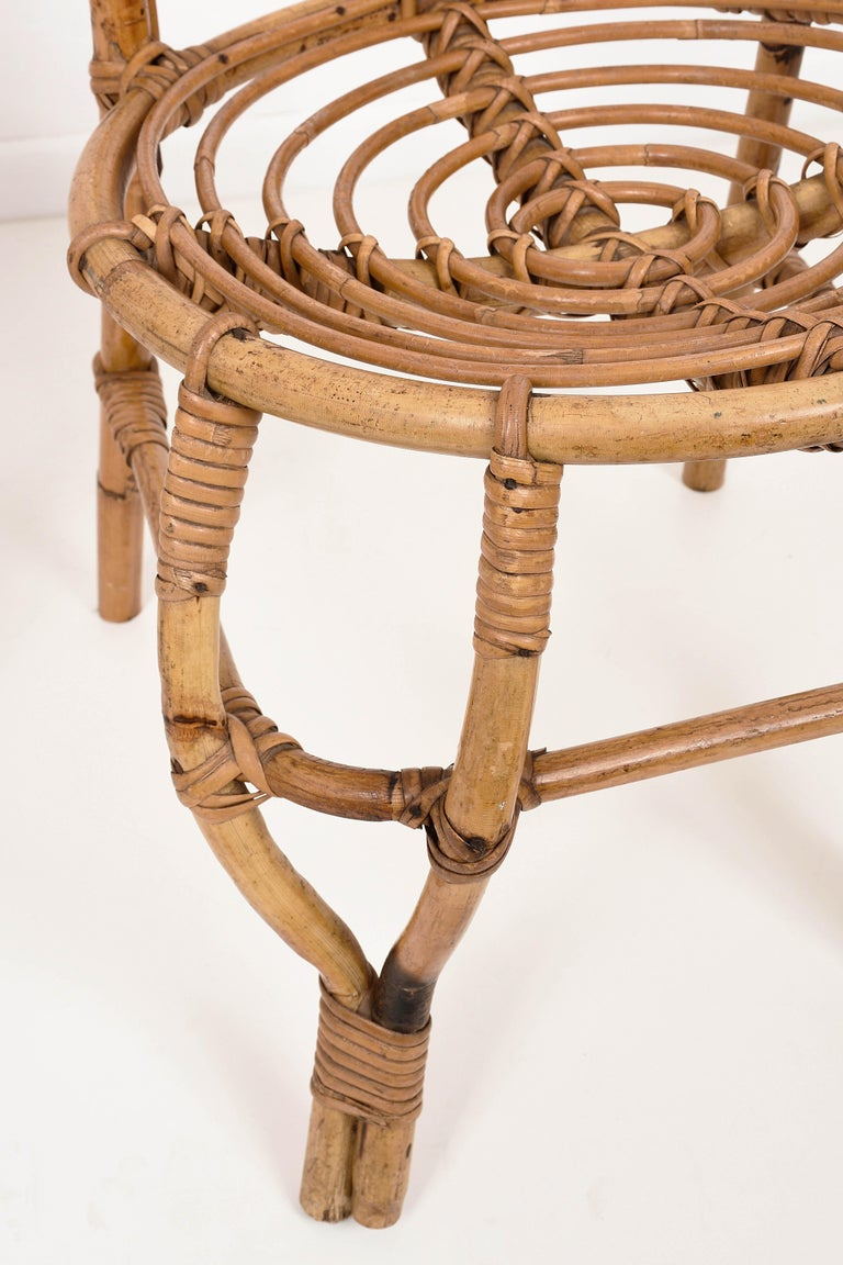 Pair of Midcentury French Riviera Rattan and Bamboo Chairs, France, 1960s For Sale 5