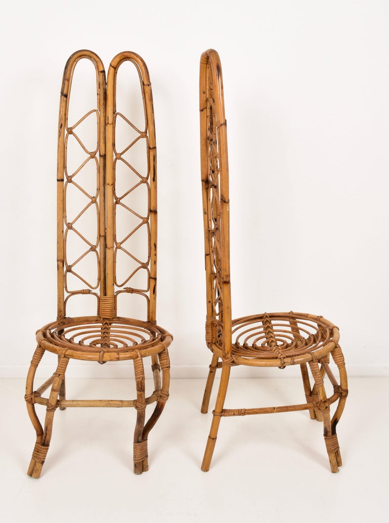 Mid-Century Modern Pair of Midcentury French Riviera Rattan and Bamboo Chairs, France, 1960s For Sale
