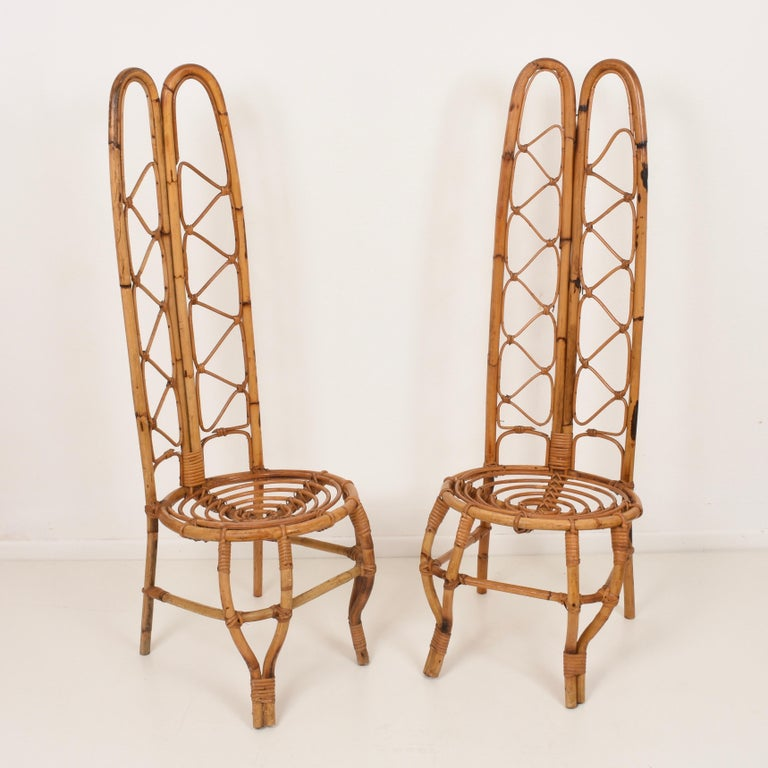 Pair of Midcentury French Riviera Rattan and Bamboo Chairs, France, 1960s In Good Condition For Sale In Roma, IT