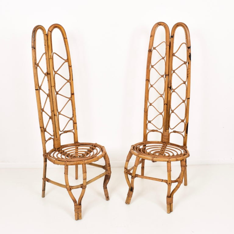 20th Century Pair of Midcentury French Riviera Rattan and Bamboo Chairs, France, 1960s For Sale