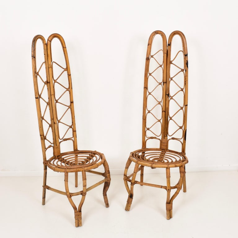 Pair of Midcentury French Riviera Rattan and Bamboo Chairs, France, 1960s For Sale 1
