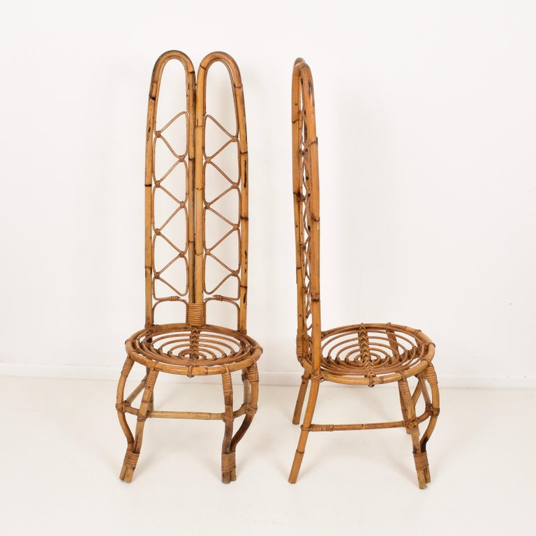 Pair of Midcentury French Riviera Rattan and Bamboo Chairs, France, 1960s For Sale 2