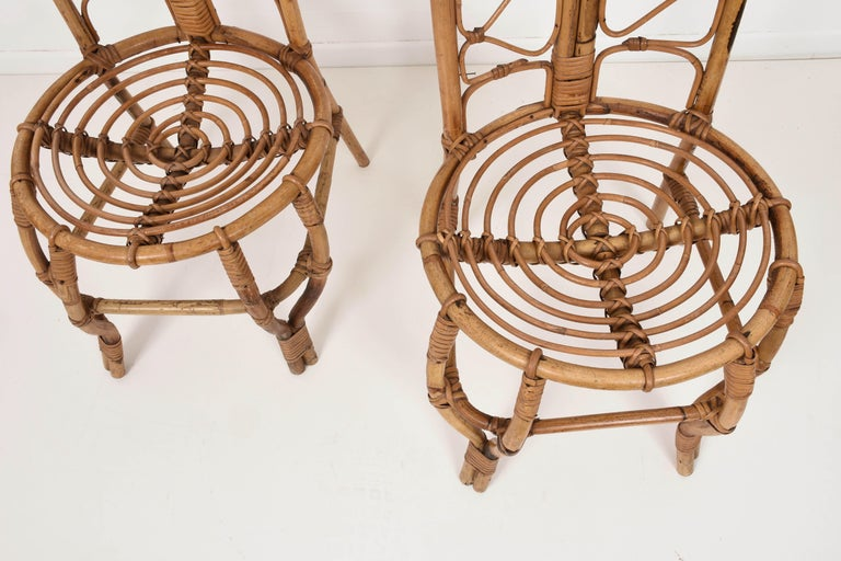 Pair of Midcentury French Riviera Rattan and Bamboo Chairs, France, 1960s For Sale 4