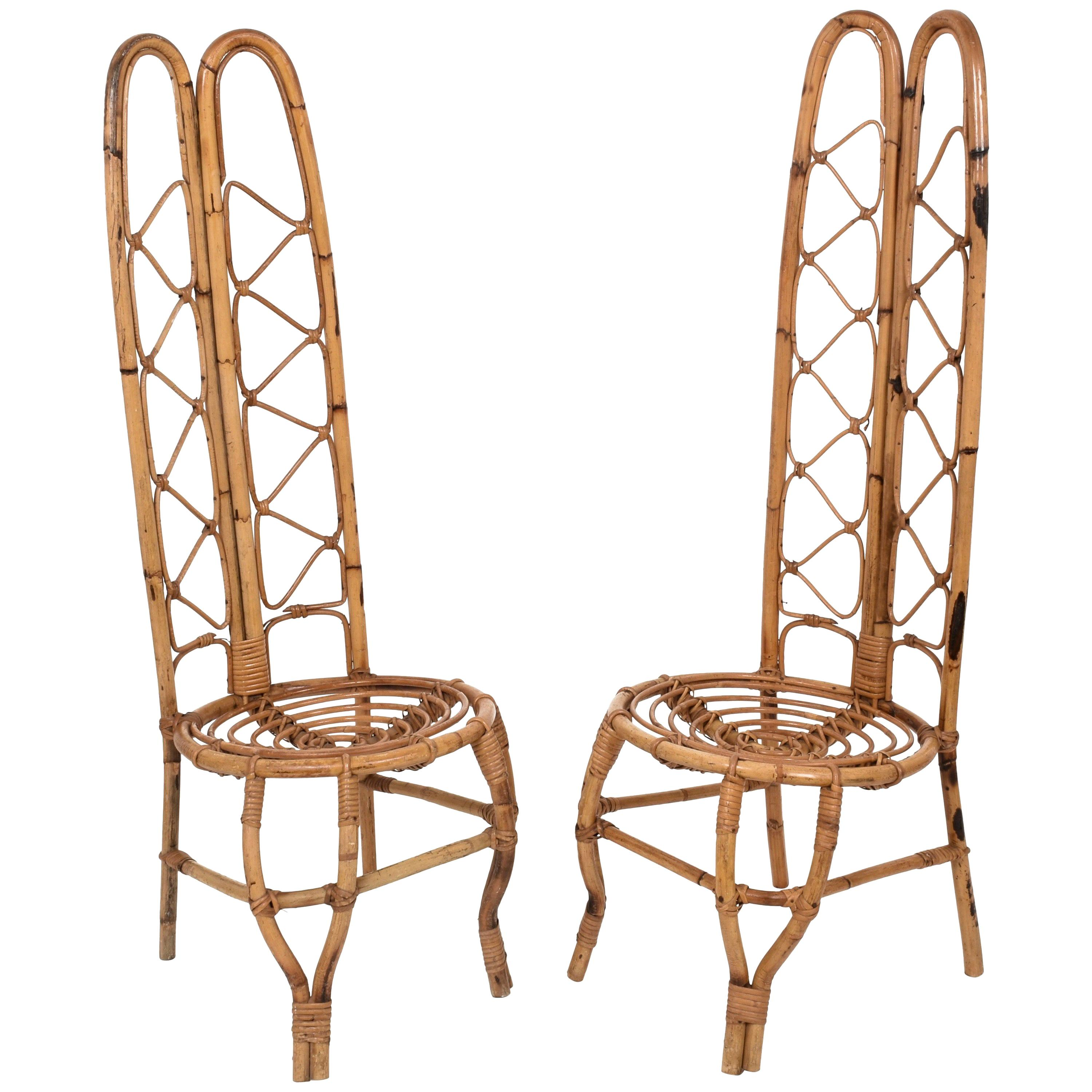 Pair of Midcentury French Riviera Rattan and Bamboo Chairs, France, 1960s