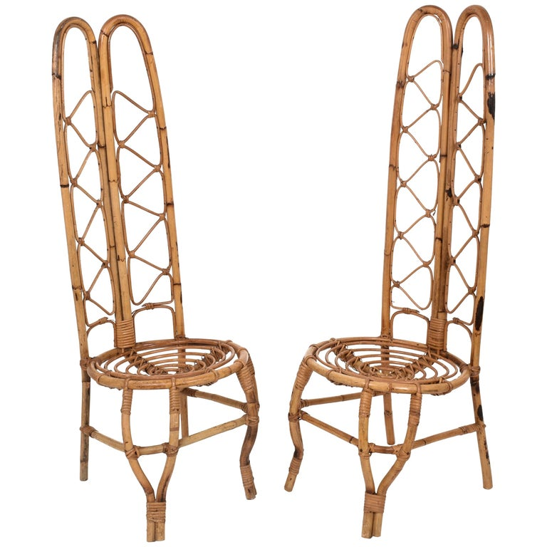 Pair of Midcentury French Riviera Rattan and Bamboo Chairs, France, 1960s For Sale