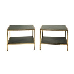 Pair of Midcentury French Side Tables in Green Leather with Brass Frame