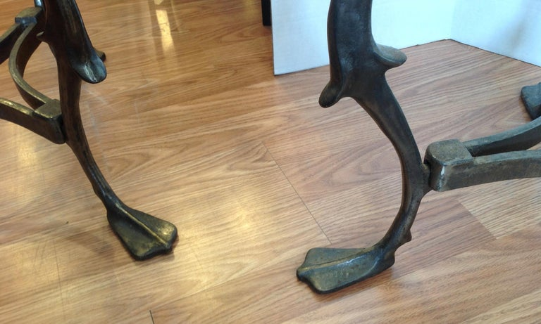 Pair of Midcentury French Steel Swan Motif Tables For Sale 6