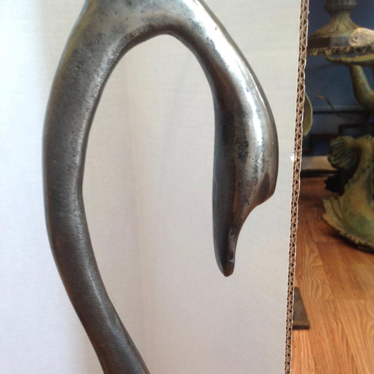 Pair of Midcentury French Steel Swan Motif Tables For Sale 7