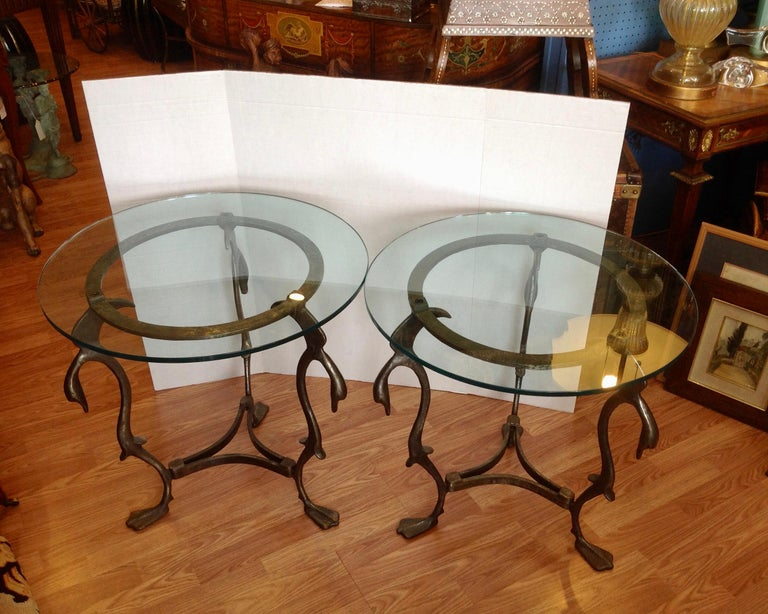 Mid-Century Modern Pair of Midcentury French Steel Swan Motif Tables For Sale