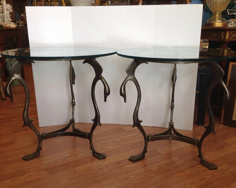 Pair of Midcentury French Steel Swan Motif Tables In Good Condition For Sale In West Palm Beach, FL