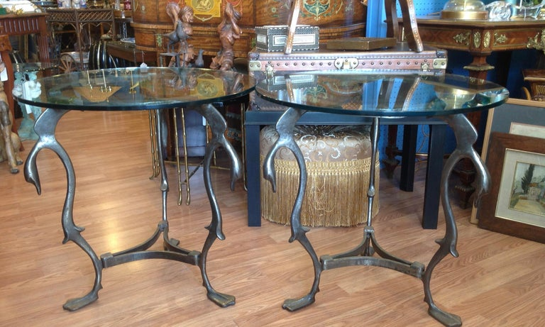 20th Century Pair of Midcentury French Steel Swan Motif Tables For Sale