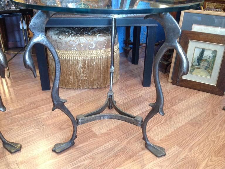 Pair of Midcentury French Steel Swan Motif Tables For Sale 1