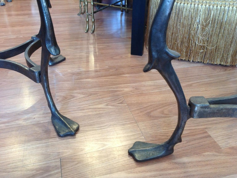 Pair of Midcentury French Steel Swan Motif Tables For Sale 2