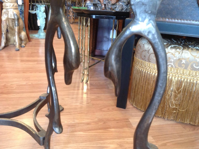 Pair of Midcentury French Steel Swan Motif Tables For Sale 3