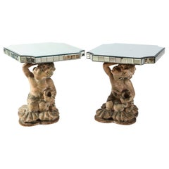 Pair of Midcentury French Terracotta Mirrored and Figural Side Tables