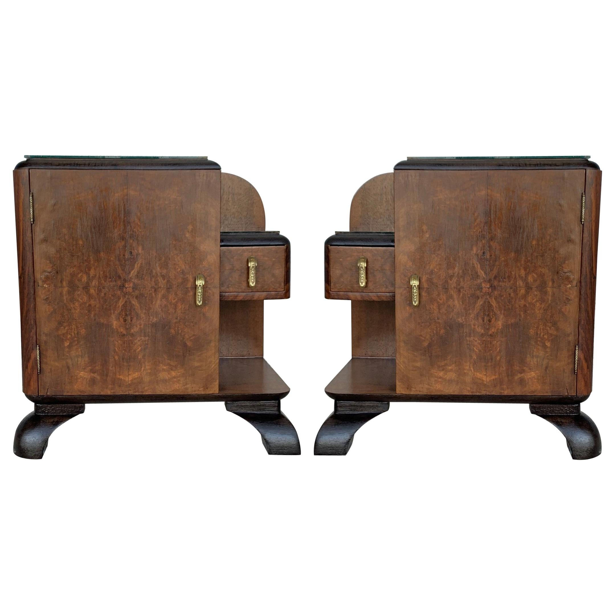 Pair of Midcentury Front Nightstands with Original Hardware and Ebonized Base