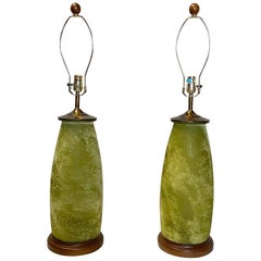 Pair of Midcentury Frosted Green Glass Table Lamps