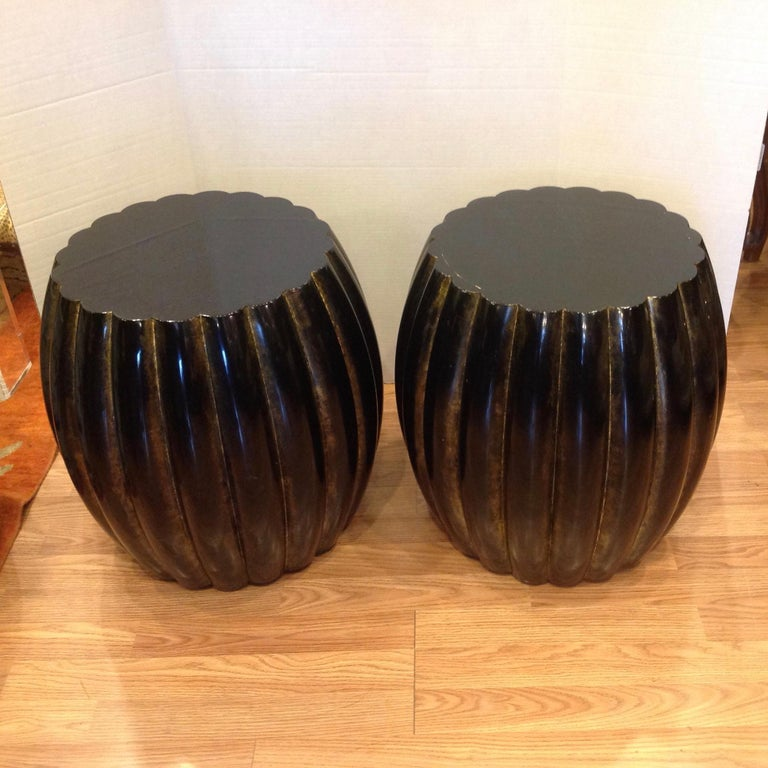 American Pair of Midcentury Garden Seat Style Drink Tables For Sale