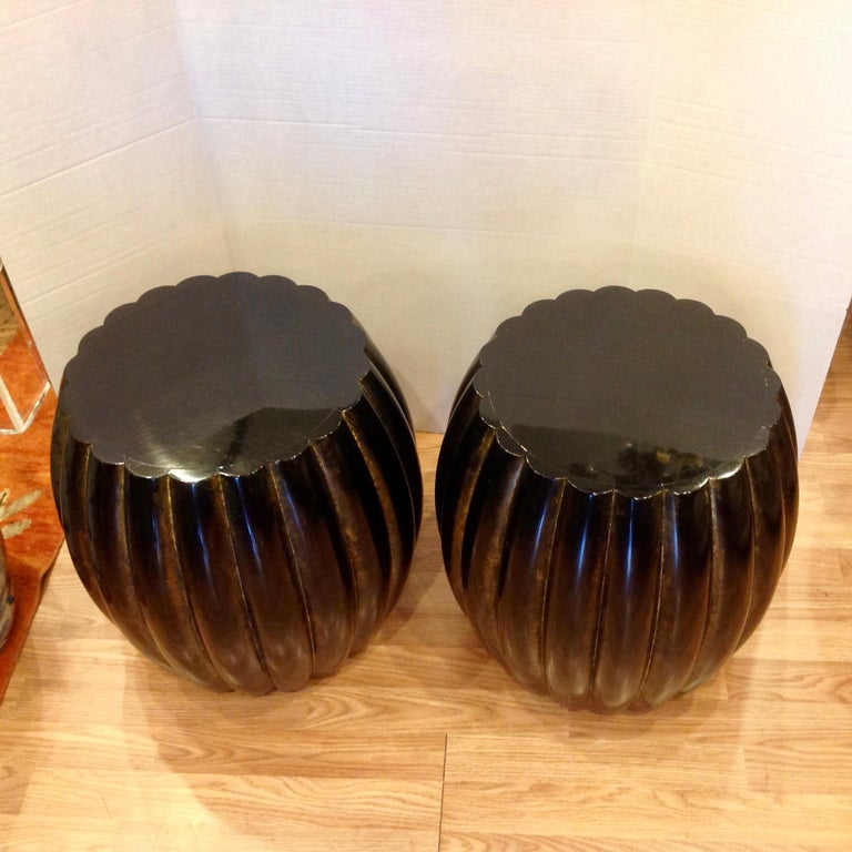 Lacquered Pair of Midcentury Garden Seat Style Drink Tables For Sale