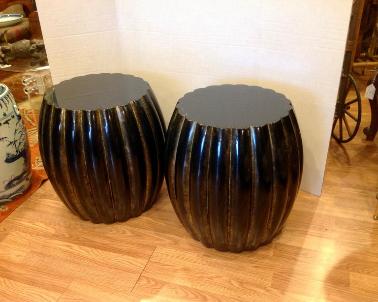 Pair of Midcentury Garden Seat Style Drink Tables In Good Condition For Sale In West Palm Beach, FL