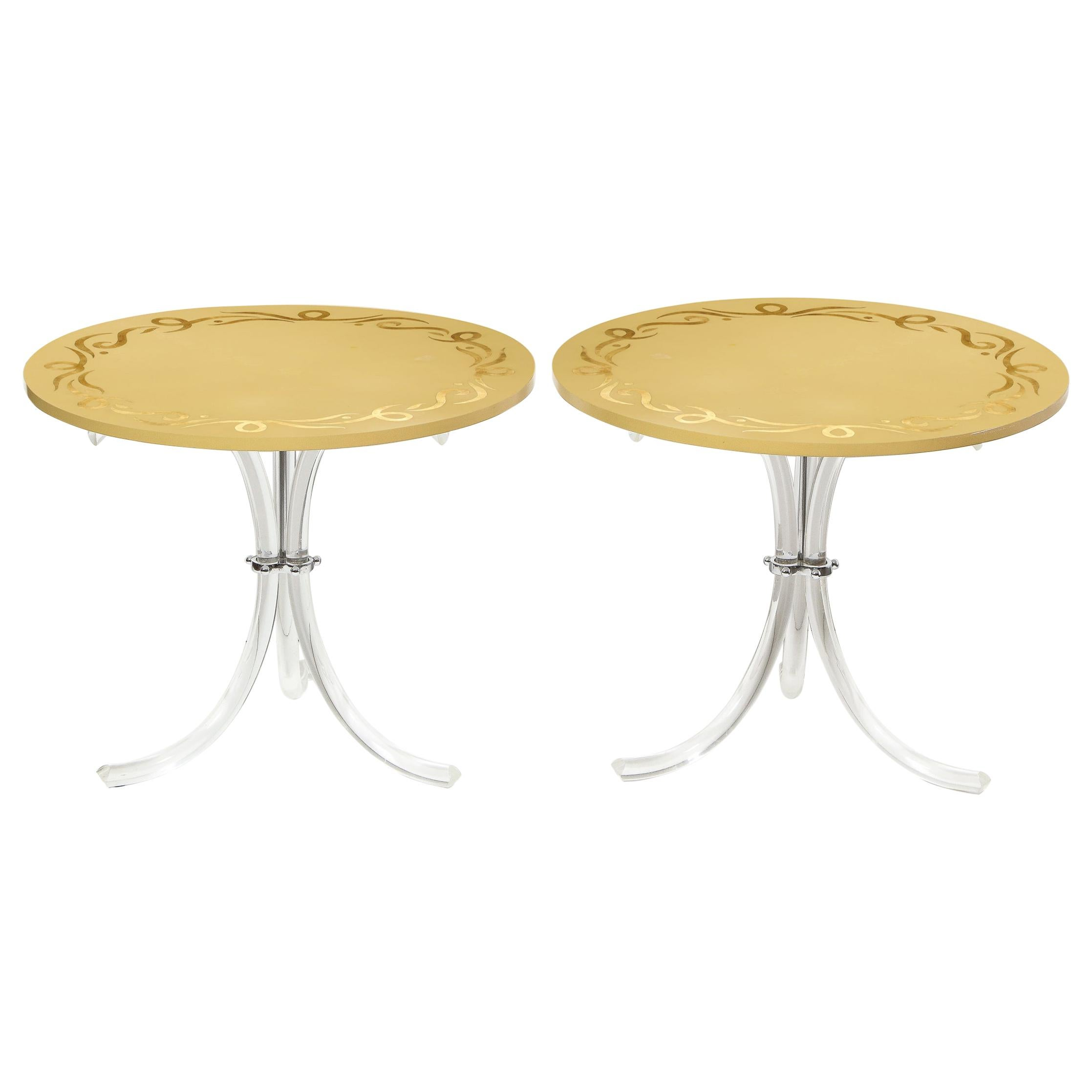 Pair of Midcentury Gilded Tan Tables with Lucite Legs, Manner of Dorothy Draper