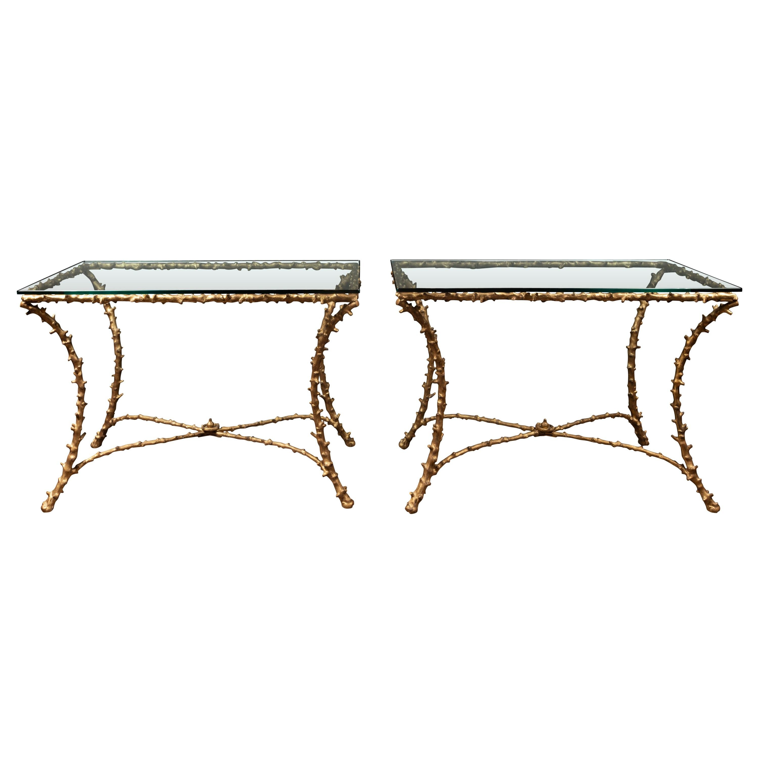 Pair of Midcentury Gilt Bronze Glass Tops Console Tables with Faux Bois Motifs